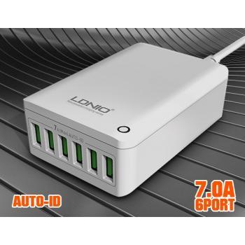 Универсално USB зарядно за 220V LDNIO A6703, 6 USB, 7A