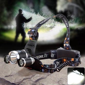 Мощен LED фенер - челник за глава с акумулаторни батерии и 3 LED диода Boruit