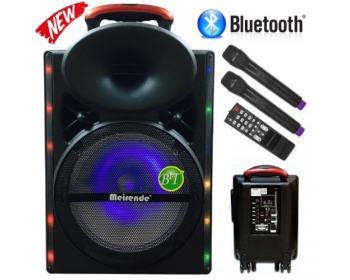 """Мощна 12"""" Караоке колона Meirende A12-33 с вграден акумулатор, Bluetooth MP3 плейър от SD карта или USB, 2бр. безжични микрофони и цветомузика"""