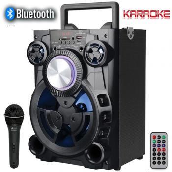 AКЦИЯ Преносима Bluetooth Караоке диско тонколона с микрофон и цветомузика Elekom EK-0810