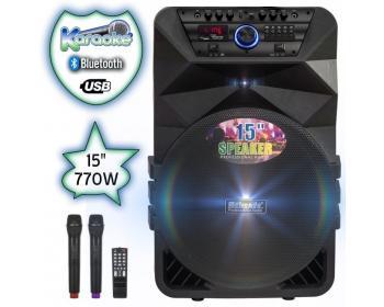 15 инча Тонколона караоке Meirende MR-K5 с Bluetooth, 2 Броя безжични микрофони, USB, Радио, Цветомузика, Вграден акумулатор