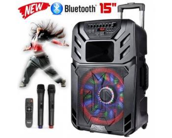 """15"""" Тонколона за Караоке Zephyr Z-9999-A15 с вграден акумулатор, Bluetooth, МП3 плейър, 2 бр. безжични микрофона"""