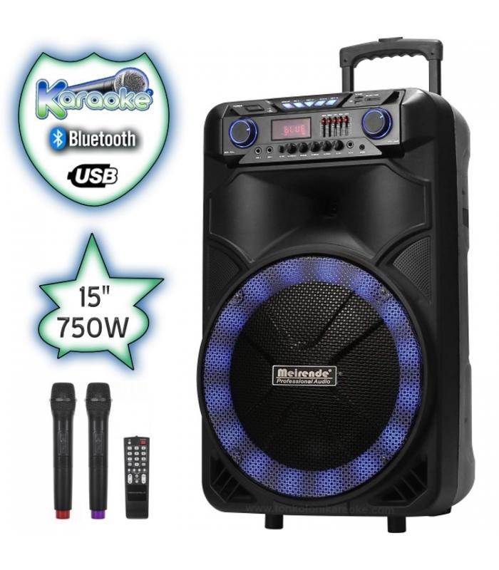 15 инча Караоке Тонколона Meirende MR108 с Bluetooth, 2 Броя безжични микрофони, USB, Радио, Еквалайзер, Цветомузика, Вграден акумулатор