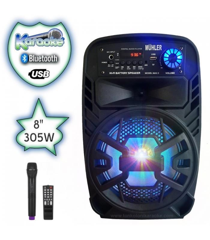 8 инча Караоке Тонколона Muhler max3 с Bluetooth, Безжичен микрофон, USB, Радио, Цветомузика, Вграден акумулатор