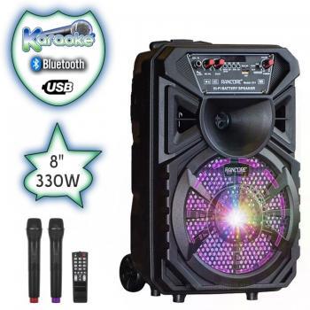 8 инача Караоке Тонколона RANCORE X11 с Bluetooth, 2 Броя безжични микрофони, USB, Радио, Цветомузика, Вграден акумулатор