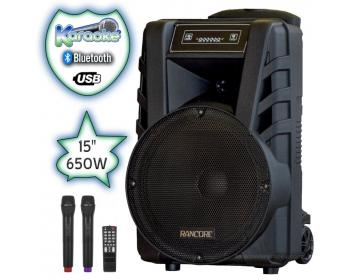 15 инча Караоке Тонколона RANCORE X77 с Bluetooth, 2 Броя безжични микрофони, USB, Радио, Вграден акумулатор