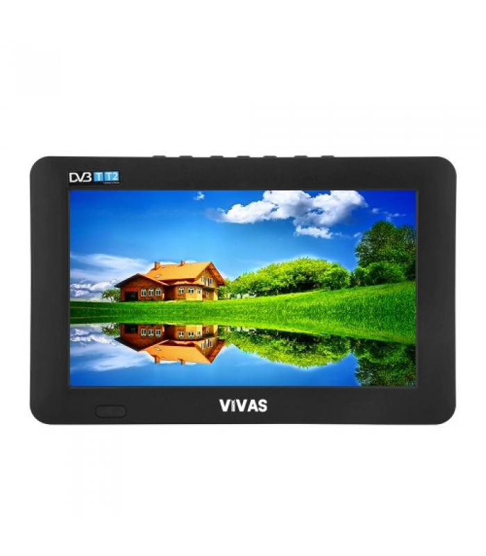 "7"" портативен телевизор Vivas TV7, 7 инча, 12/220V, Цифров тунер DVB-T2, Мултимедия, Акумулаторна батерия"