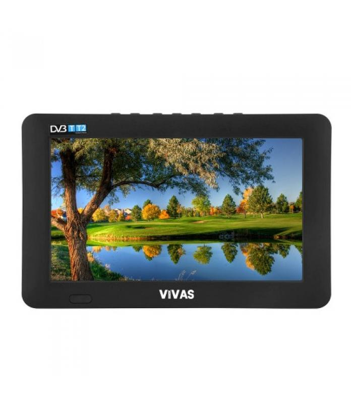 "9"" портативен телевизор Vivas TV9, 9 инча, 12/220V, Цифров тунер DVB-T2, Мултимедия, Акумулаторна батерия"