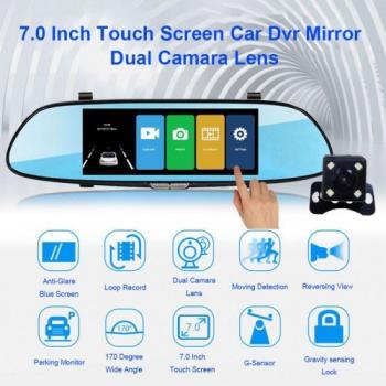"""Огледало за кола с вграден видеорегистратор, 7"""", Full HD, Тъч контрол, Камера задно виждане"""